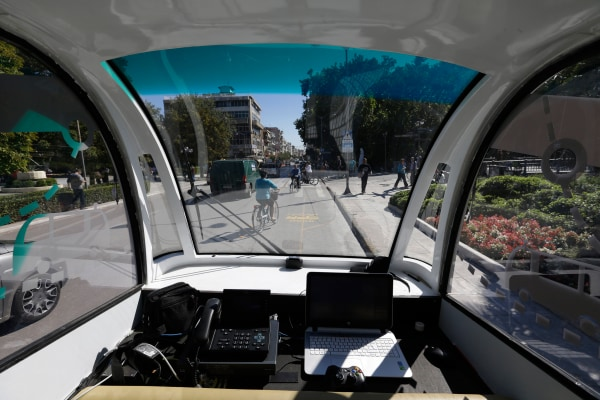 IMAGE: A driverless bus takes a test run in Greece