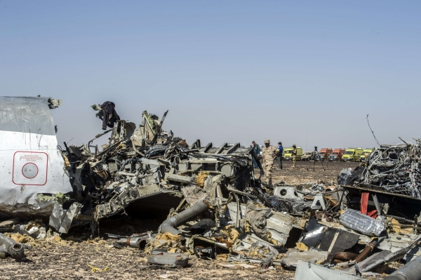 Image: Debris belonging to the A321 Russian airliner are seen