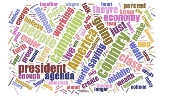 Image: A typical Bernie Sanders Stump Speech in a word cloud