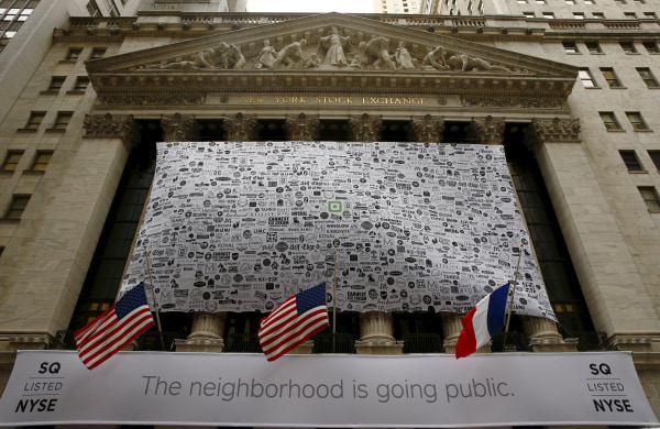 Image: Signage for Square Inc. covers the front of the New York Stock Exchange celebrating the company's IPO
