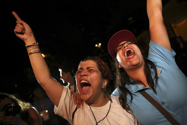 Image: Supporters of the opposition Democratic Unity coalition celebrate
