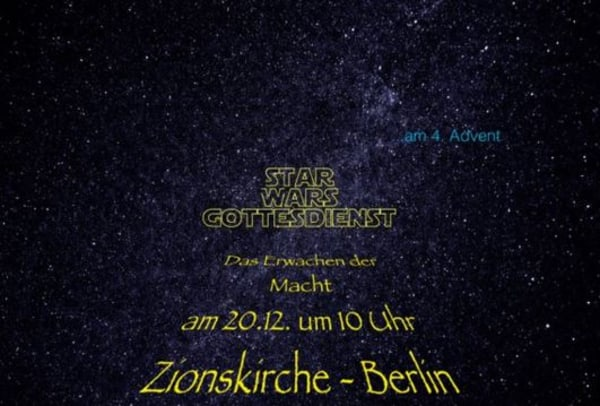"""Image: Twitter ad for """"Star Wars""""-themed service at church in Berlin, Germany"""