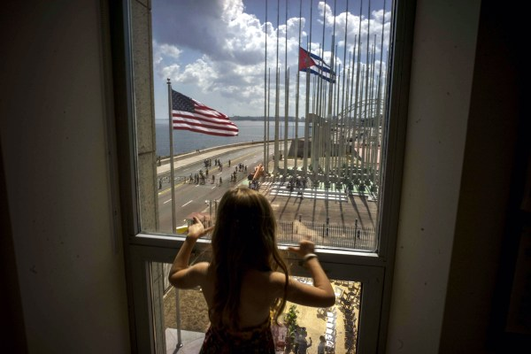 Image: A child at the newly opened U.S. Embassy in Havana