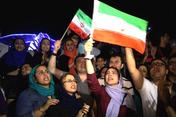 Image: Iranians celebrate the nuclear deal