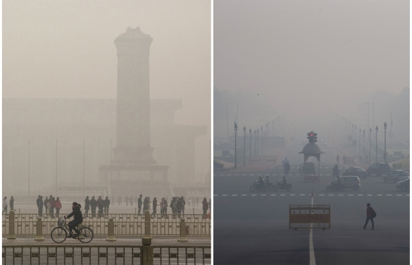 Image: Air pollution in Beijing and New Delhi