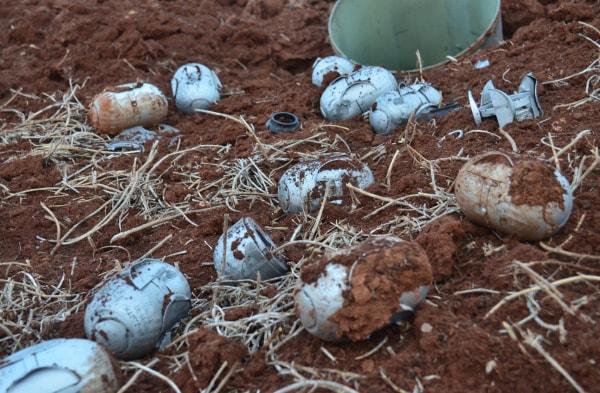 Image: Alleged cluster-bomb shrapnel