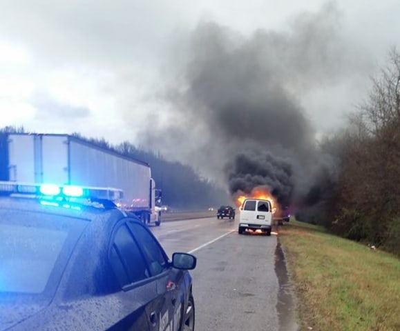 IMAGE: Van on fire near Austin, Arkansas