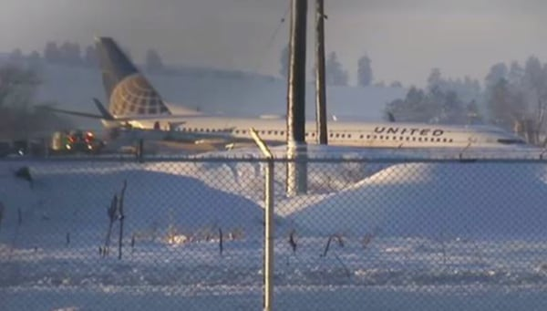 Image: United Flight 812 slid off the runway at the Spokane International Airport