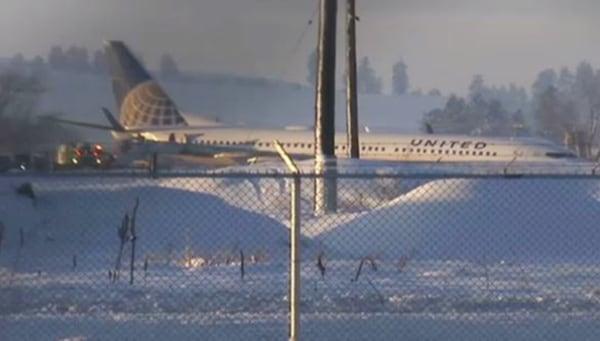 Image: United Flight 812 slid off the runway at the Spokane International Airport