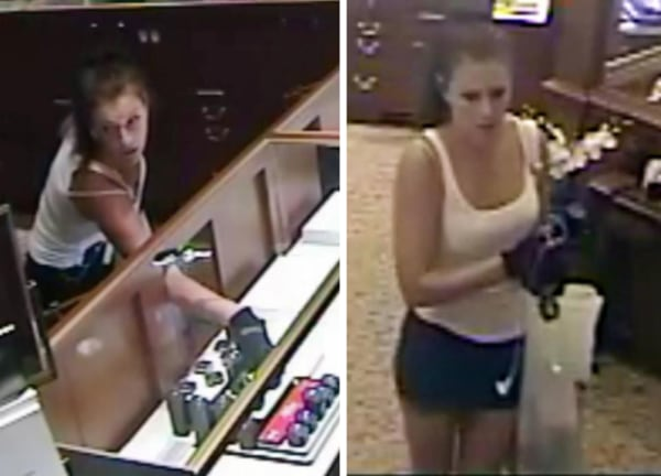 Image: surveillance footage of female jewelry store robberies suspect