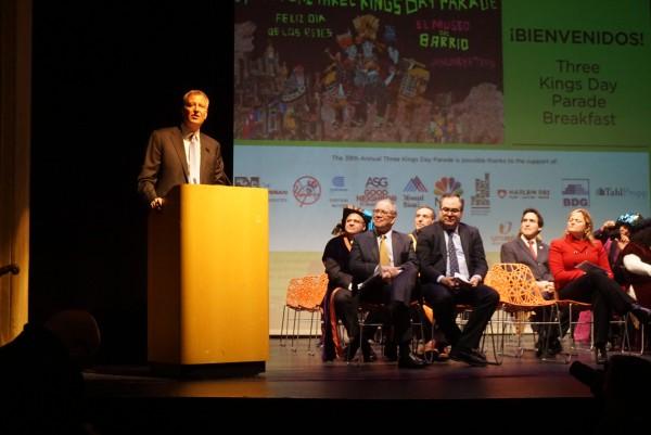 New York City Mayor Bill de Blasio speaking at el Museo del Barrio