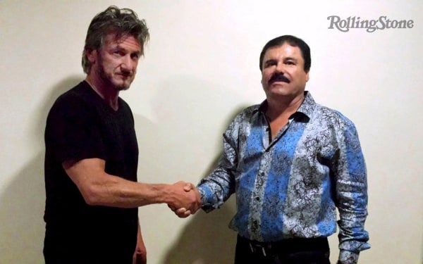 "Image: Undated Rolling Stone handout shows actor Sean Penn shaking hands with Mexican drug lord Joaquin ""Chapo"" Guzman in Mexico"