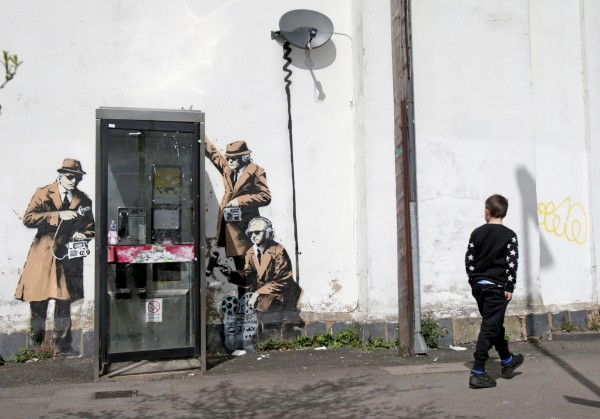 Image: Possible Banksy Artwork Around A Telephone Box