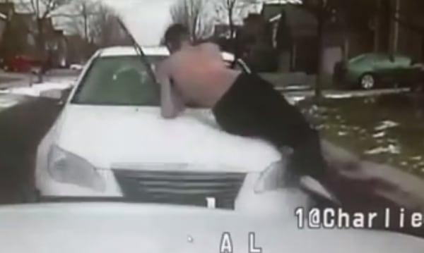 IMAGE: Car rams Michigan police vehicle