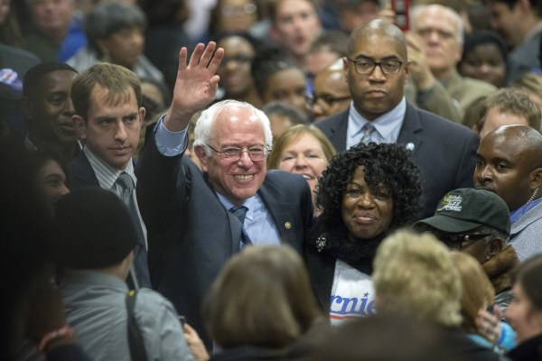 Image: Bernie Sanders makes his way through a crowd before he speaks at the Jim Clyburn Fish Fry