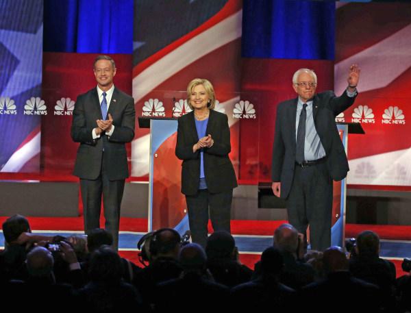 Image: Martin O'Malley, Hillary Clinton, Bernie Sanders