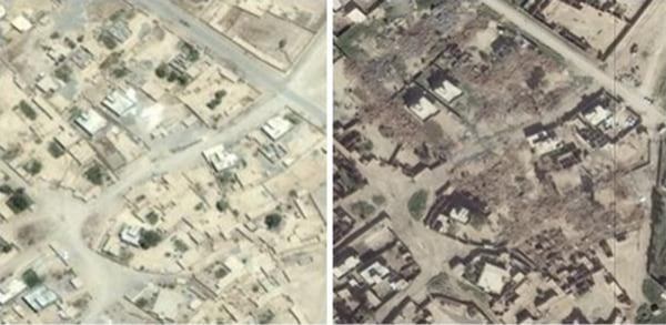 Image: Amnesty International photos showing Jumeili, Iraq, in 2014 and 2015