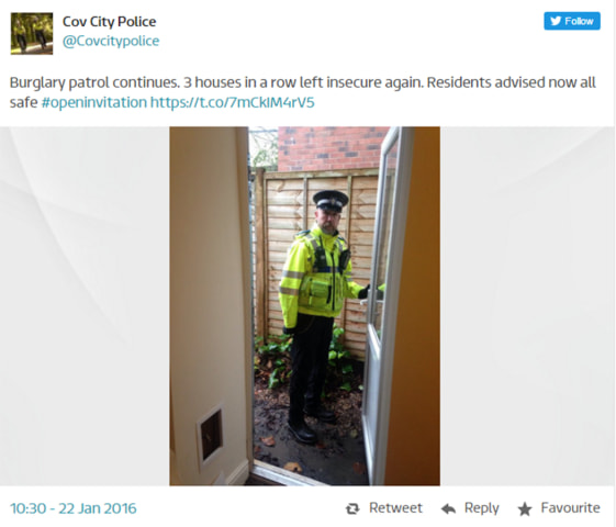 Image: A screen grab of a tweet by Coventry City Police
