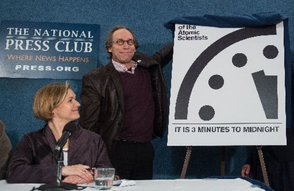 Image: Lawrence Krauss, chair of the Bulletin of Atomic Scientists' Board of Sponsors, unveils the 'Doomsday Clock'