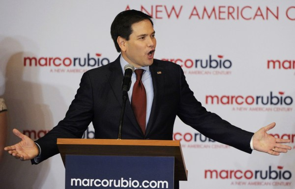 Image: U.S. Republican presidential candidate Senator Marco Rubio speaks during his watch party in Des Moines Iowa