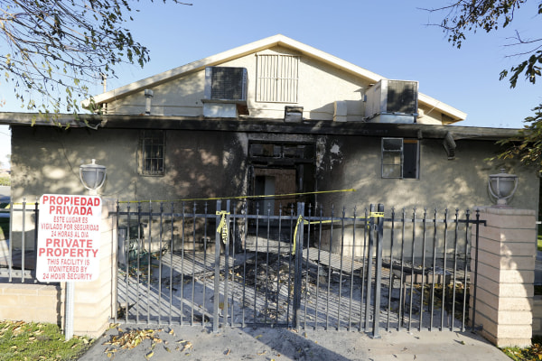 Image: A view of damage at the burned Islamic Society of Coachella Valley