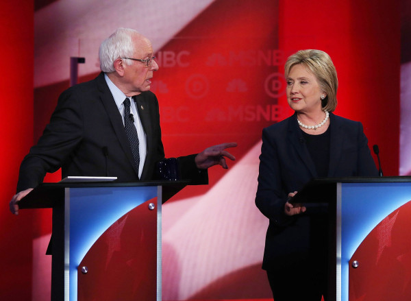 Image: Democratic Presidential Candidates Hillary Clinton And Bernie Sanders Debate In Durham, New Hampshire