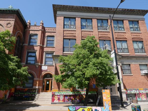 Balloons released at Chicago's historic, Hispanic Pilsen neighborhood.
