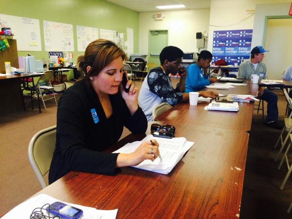 Laura Lozano,35, volunteers for the Hillary Clinton campaign