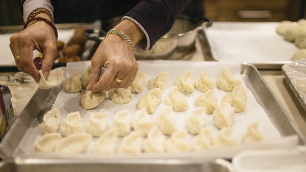 Nepalese momos made by a refugee chef originally from Nepal at Eat Offbeat.