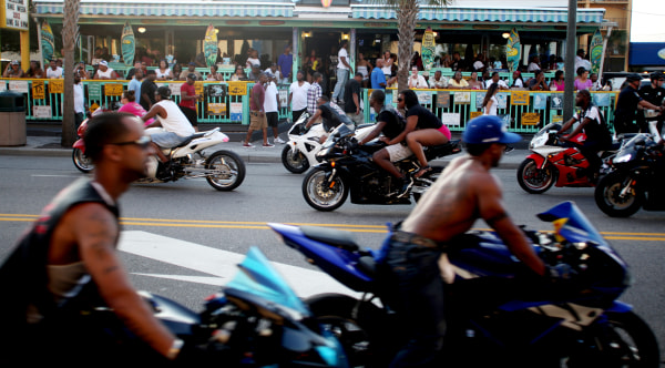 Bikers cruise down Ocean Boulevard Thursday evening in Myrtle Beach