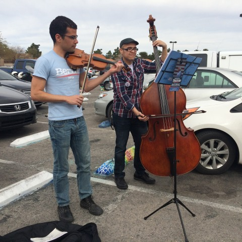 Image: Music players in Nevada Caucus for Bernie