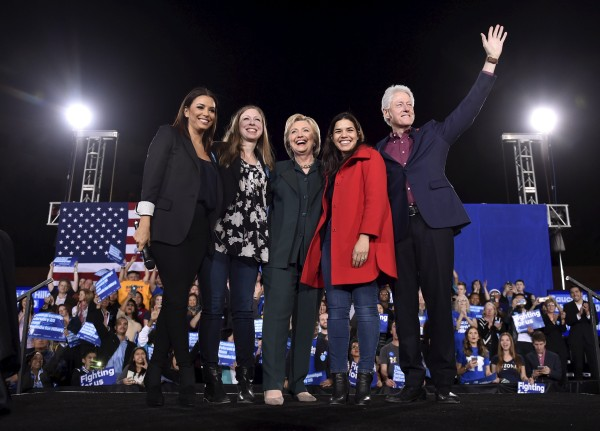 Image: Eva Longoria, Chelsea Clinton, U.S. Democratic presidential candidate Hillary Clinton, America Ferrera and former President Bill Clinton wave to supporters before Hillary Clinton spoke at a campaign rally at the Clark County Government Center in La