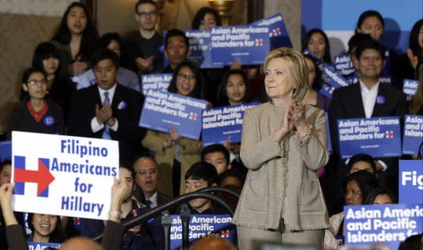 Image: Hillary Clinton is welcomed by Asian American and Pacific Islander supporters in San Gabriel, Calif., on Thursday, Jan. 7, 2016.