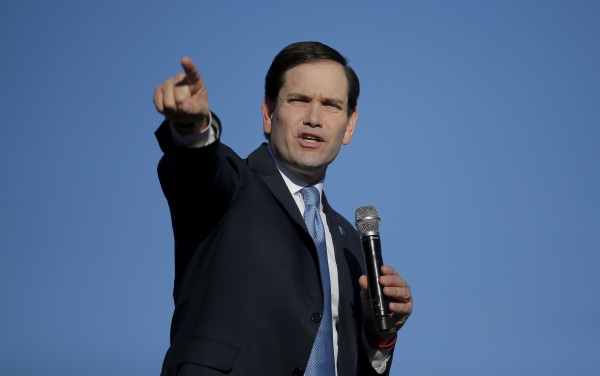 Image: U.S. Republican presidential candidate Marco Rubio speaks during a campaign event in Minden