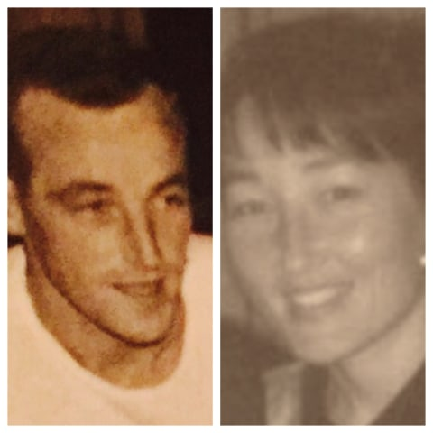Katherine Kim, right, and her biological father, Gerard Krohn are pictured in their late 20s.