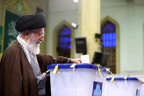Image: Ayatollah Ali Khamenei votes on Feb. 26, 2016