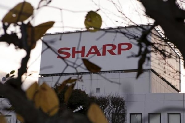 The logo of Sharp Corp is seen at Tochigi plant in Yaita
