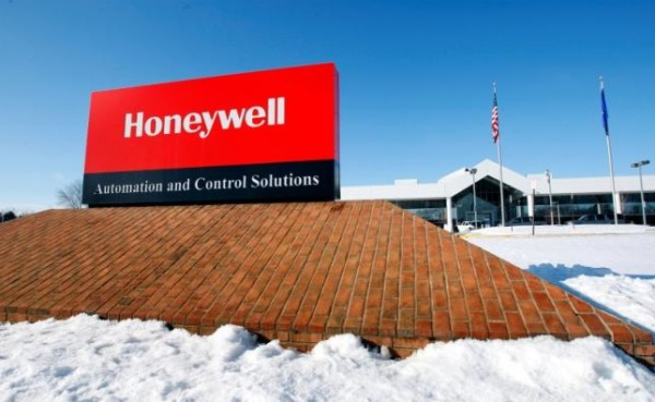 View of corporate sign outside the Honeywell International Automation and Control Solutions manufacturing plant in Golden Valley