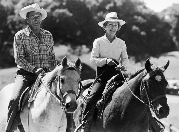 Image: Ronald Reagan and Nancy Reagan ride horses at their ranch Jan. 10, 1981 in Santa Barbara, Calif.