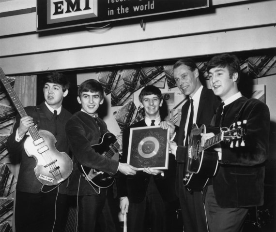 Image: The Beatles and George Martin in 1963