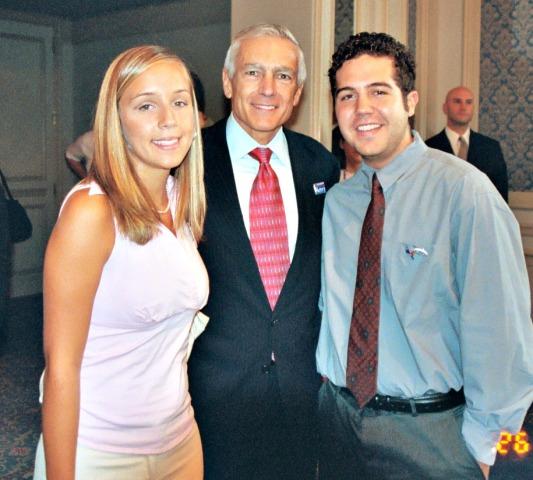De Castro siblings, Laura and Nicolas, pose with Gen. Wesley Clark