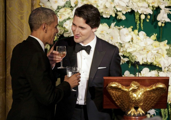 Image: Canada's Prime Minister Justin Trudeau toasts U.S. President Barack Obama during a state dinner at the White House in Washington