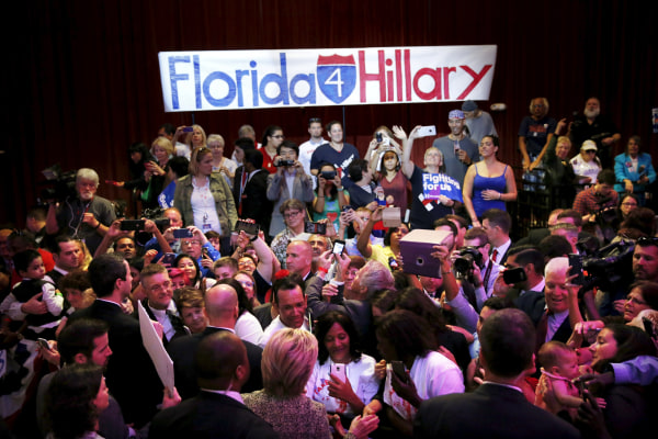 Image: Democratic U.S. presidential candidate Hillary Clinton talks to supporters after a campaign rally in Tampa, Florida