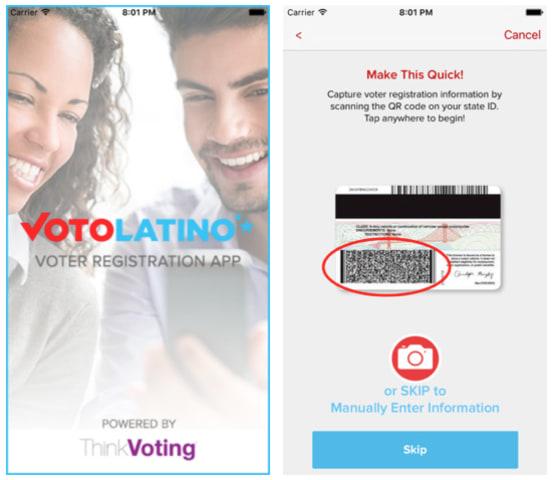 Screenshots of the VoterPal app