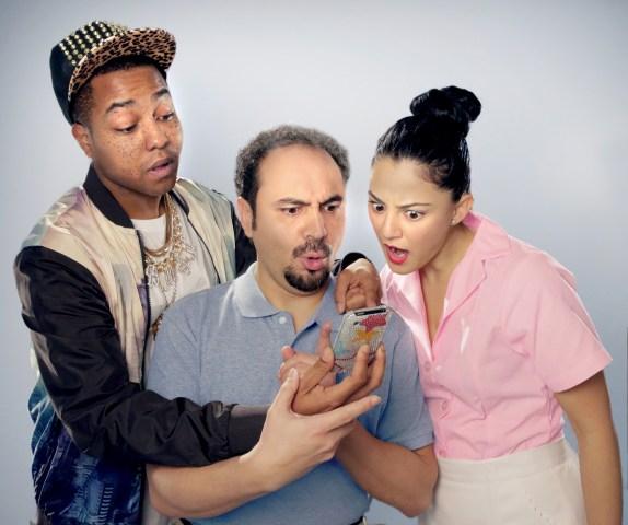 Dwayne A. Washington as Li'l B-Man, José Adán Pérez as Figaro and Samarie Alicea as Susana in ¡Figaro! (90210)