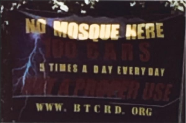 An image, taken from court documents, showing opposition to a proposed mosque in Bernards Township, New Jersey.
