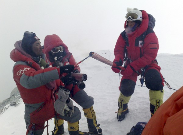 Image: Olympic torch on Mount Everest on May 8, 2008