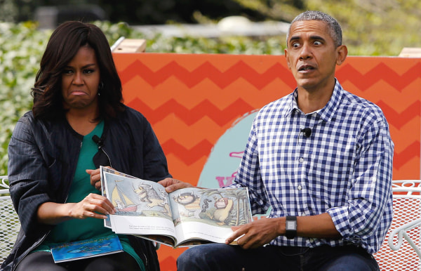 "Image: First lady Michelle Obama and President Barack Obama perform a reading of the children's book ""Where the Wild Things Are"" at White House Easter Egg Roll at the White House in Washington"