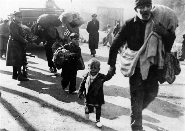Refugees from the Spanish Civil War cross into France at Le Perthus.