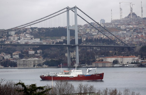 Image: The Russian Navy's transport ship Yauza sets sail in the Bosphorus, on its way to the Mediterranean Sea, in Istanbul